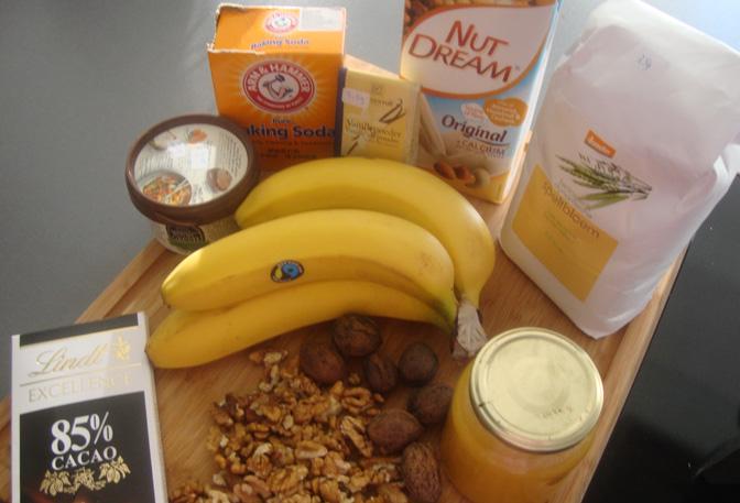 banaan chocolade walnoten taart