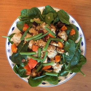 couscous salade pompoen, aubergine